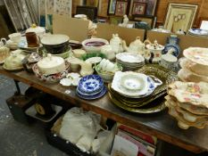 VARIOUS CHINA WARES TO INCLUDE JAPANESE BLUE AND WHITE, SPODES POLKA DOT, MEAT PLATTERS, CRESCENT