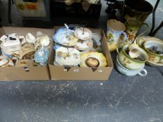 A QUANTITY OF CHINAWARES TO INCLUDE A BLACK & WHITE WATER JUG, SADLER TEAPOT, EMPIRE PART TEA
