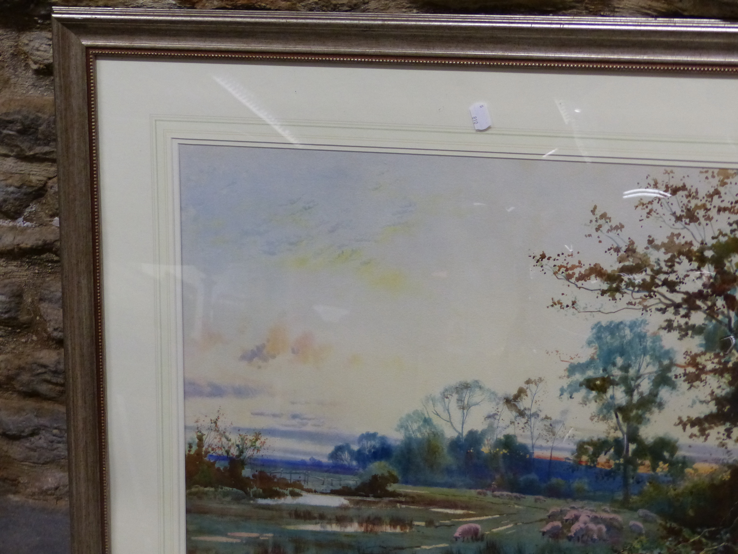 WILLIAM MATHISON (1853 - 1926) SHEEP IN THE WATER MEADOW. SIGNED WATERCOLOUR 48 x 72cm - Image 6 of 21