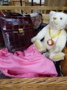 A STEIFF MILLENIUM TEDDY BEAR , TOGETHER WITH A SMALL COLLECTION OF LADIES KID GLOVES, A LAURA
