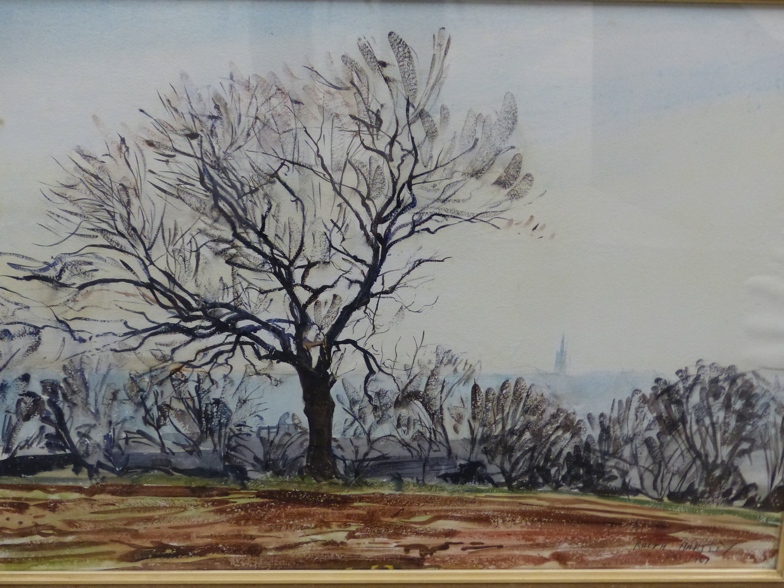 •RALPH HARTLEY (1926-1988 ARR. TWO LANDSCAPE OF TREES IN RURAL SETTINGS, SIGNED WATERCOLOURS 57 x 76 - Image 4 of 7