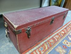 A LOUIS VUITTON RED REXINE SLOPE BACKED CAR TRUNK WITH INTERIOR LIFT OUT TRAY. W 105cms.