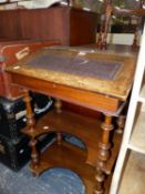A VICTORIAN MARQUETRIED MAHOGANY DAVENPORT DESK, THE LEATHER INSET FALL ABOVE TWO OPEN SHELVES. W 56