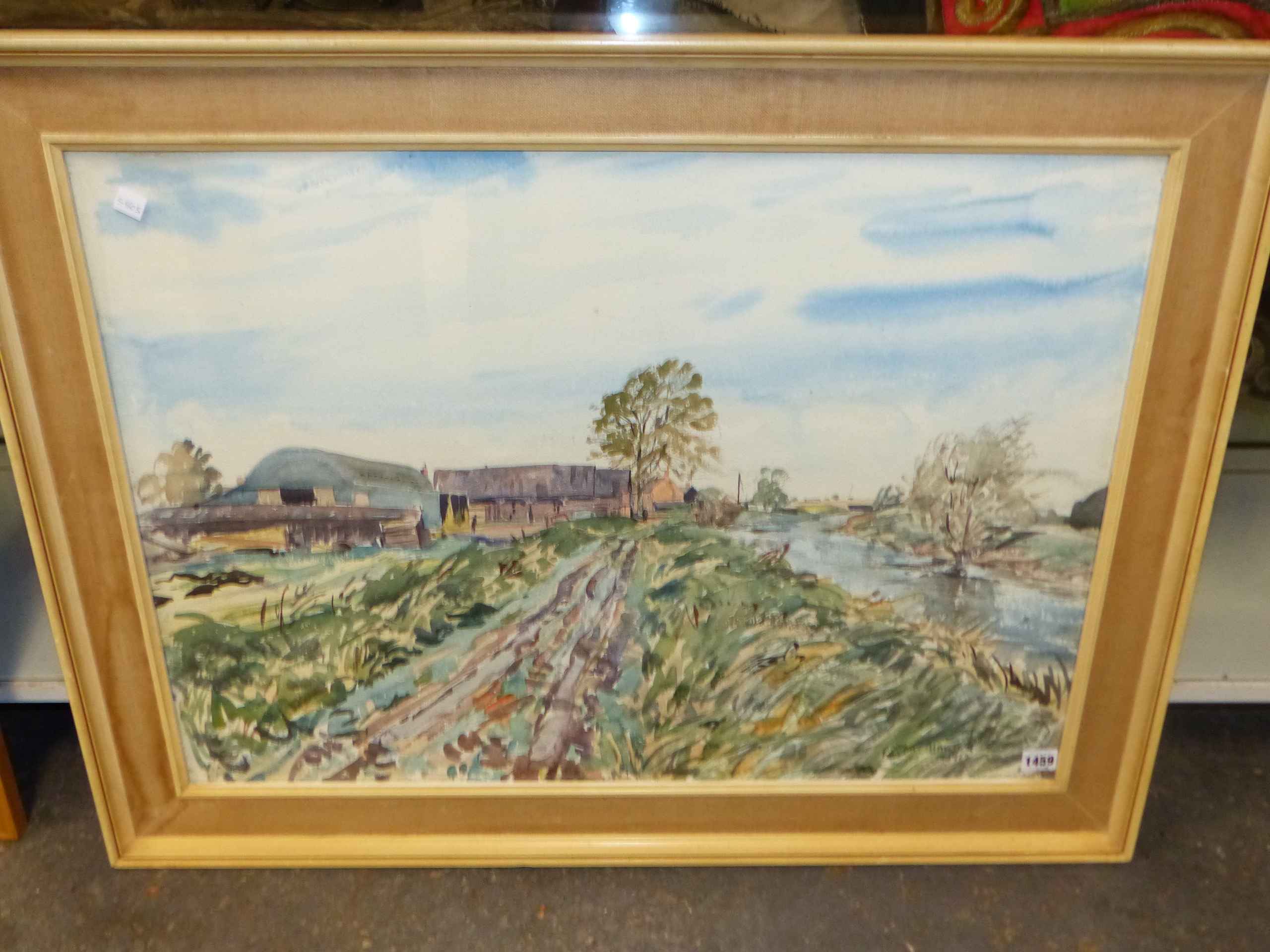 •RALPH HARTLEY (1926-1988) ARR. RURAL FARM BUILDINGS SIGNED WATERCOLOUR 55 x 77cm. TOGETHER WITH TWO - Image 2 of 11