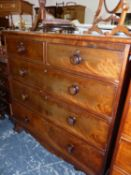 A VICTORIAN MAHOGANY CHEST OF TWO SHORT AND THREE GRADED LONG DRAWERS ON BRACKET FEET. W 104 x D