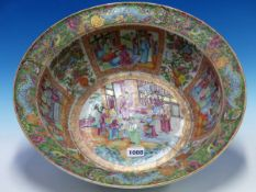 A 19th C. CANTON BOWL, THE EVERTED RIM PAINTED WITH TURQUOISE BATS, BUTTERFLIES AND FLOWERS. Dia.