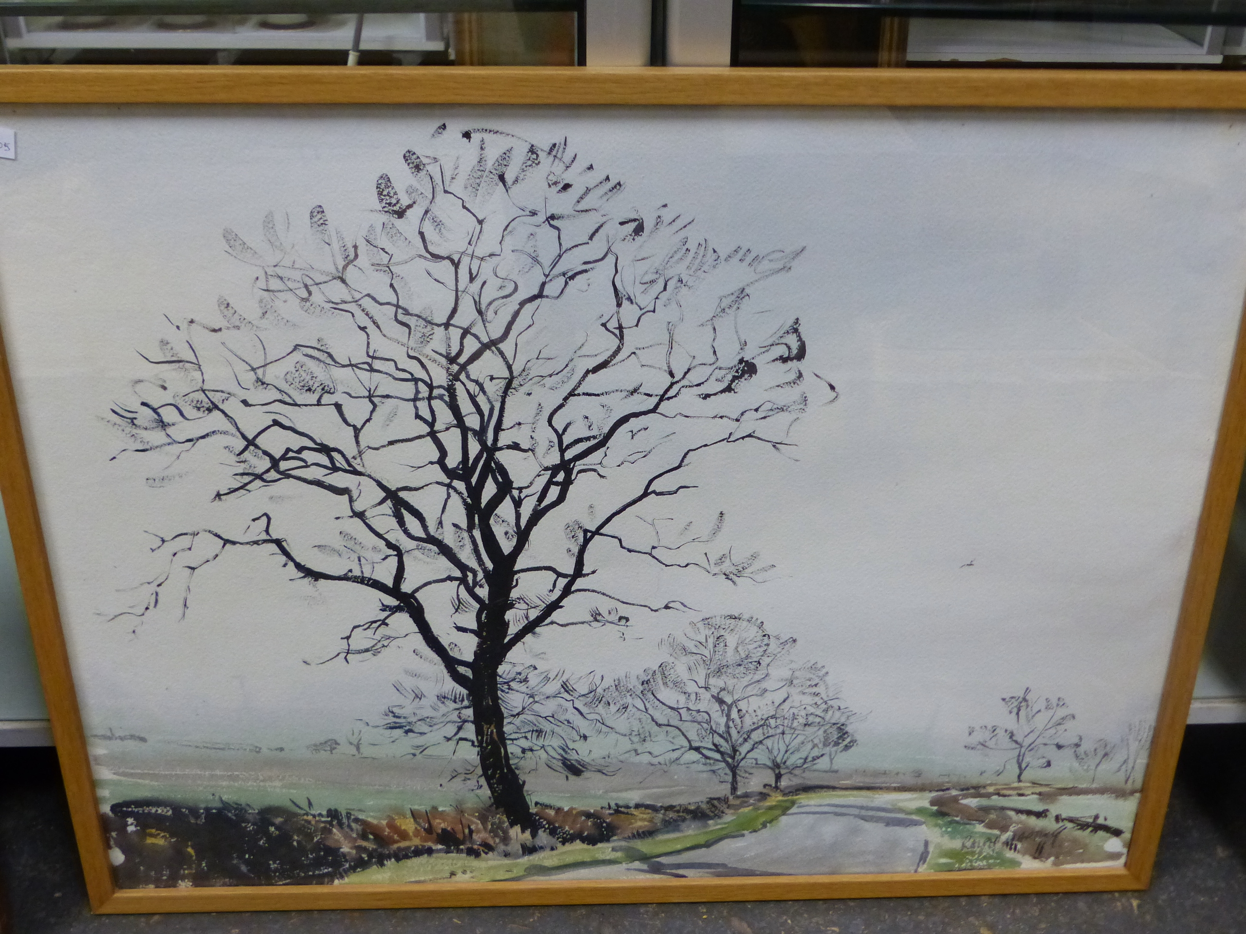 •RALPH HARTLEY (1926-1988) ARR. RURAL FARM BUILDINGS SIGNED WATERCOLOUR 55 x 77cm. TOGETHER WITH TWO - Image 5 of 11