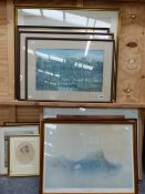 VARIOUS FURNISHING PICTURES OF COLONIAL SCENES TOGETHER WITH PRINTS AFTER LOWRY, ETC. SIZES VARY.