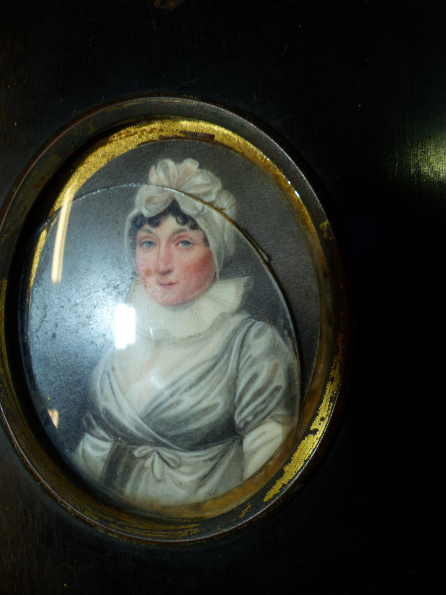 FOUR BLACK FRAMED PORTRAIT MINIATURES, ONE OF THE TWO PORTRAITS OF LADIES INSCRIBED ON THE BACK - Image 5 of 7