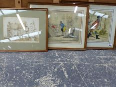 TWO ANTIQUE HAND COLOURED SATIRICAL PRINTS LA PROMENADE EN FAMILLE. 26 x 38cm AND A BROAD HINT OF