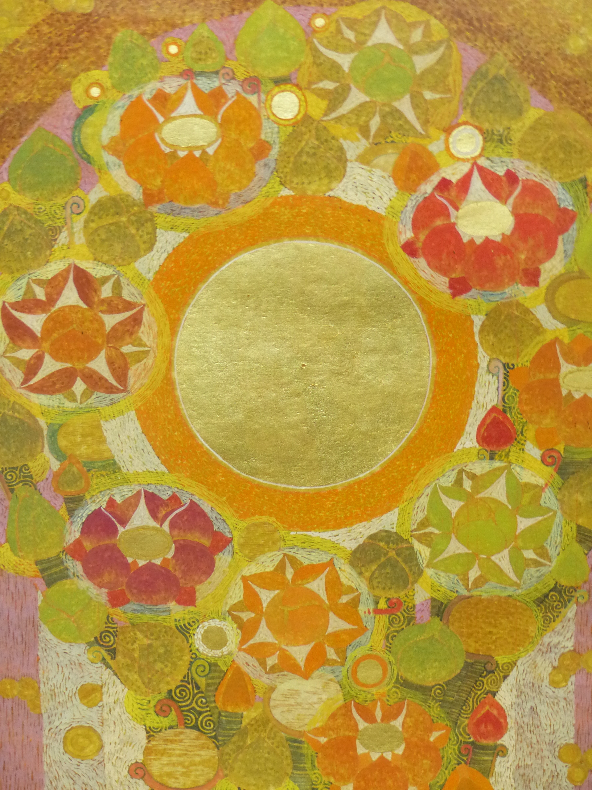 20th CENTURY EASTERN SCHOOL. A GEOMETRIC FLORAL ABSTRACTION WITH GILT HIGHLIGHTS AND WATERCOLOUR, - Image 2 of 8
