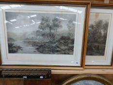 A PAIR OF VINTAGE LANDSCAPE PRINTS AFTER B.W LEADER, 44 x 64 cm (2)
