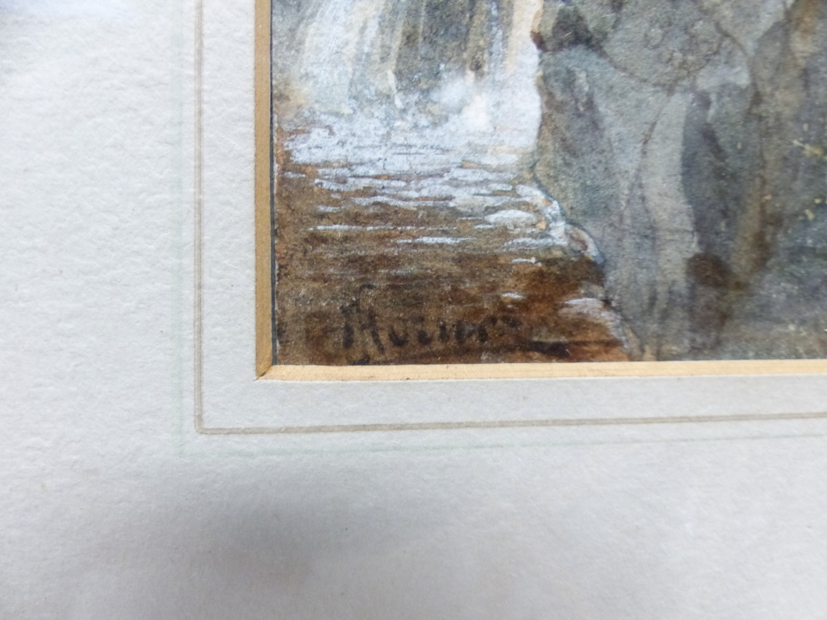 19th/20th C. ENGLISH SCHOOL. A HIGHLAND WATERFALL, SIGNED INDISTINCTLY, WATERCOLOUR 18 x 13cms - Image 8 of 9