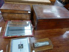 EBONY LINED MAHOGANY WRITING SLOPE AND TEA CADDY TOGETHER WITH A RED CHINOISERIE FRAMED