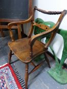 A VICTORIAN FRUITWOOD AND ELM OXFORD TYPE BAR BACK ARM CHAIR. SEAT WIDTH BETWEEN SUPPORTS 38cms,