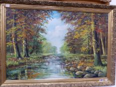 A DECORATIVE LANDSCAPE OIL PAINTING, SIGNED INDISTINCTLY 51 x 76cm