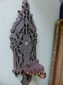 A PAIR EASTERN OF MOTHER OF PEARL DECORATED WALL HANGING TURBAN STANDS, THE BACKS PIERCED AND CARVED