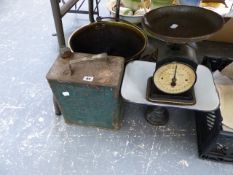 A HUGHES FAMILY SCALE, AN ESSO FUEL CAN, BRASS COAL BUCKET, AND A FURTHER SET OF SCALES AND WEIGHTS.