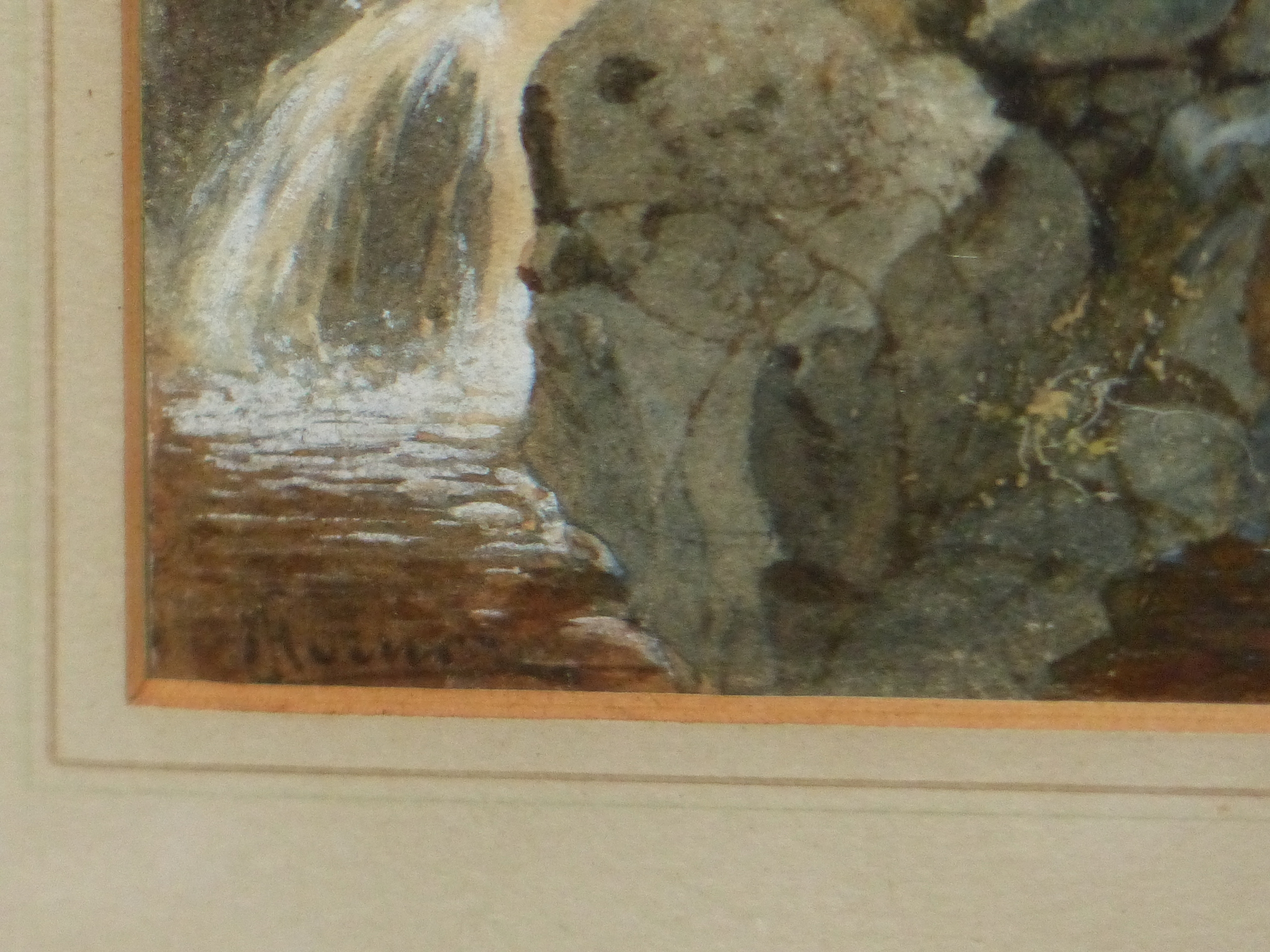 19th/20th C. ENGLISH SCHOOL. A HIGHLAND WATERFALL, SIGNED INDISTINCTLY, WATERCOLOUR 18 x 13cms - Image 5 of 9