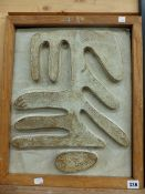 AN INTERESTING 20th C. CERAMIC RELIEF PLAQUE OF ABSTRACT FORM 45 x 37cm