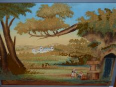 A 19TH CENTURY PARTIALLY PAINTED WOOLWORK PICTURE OF A MAN SEATED BELOW TREES BY A WATERFALL TA
