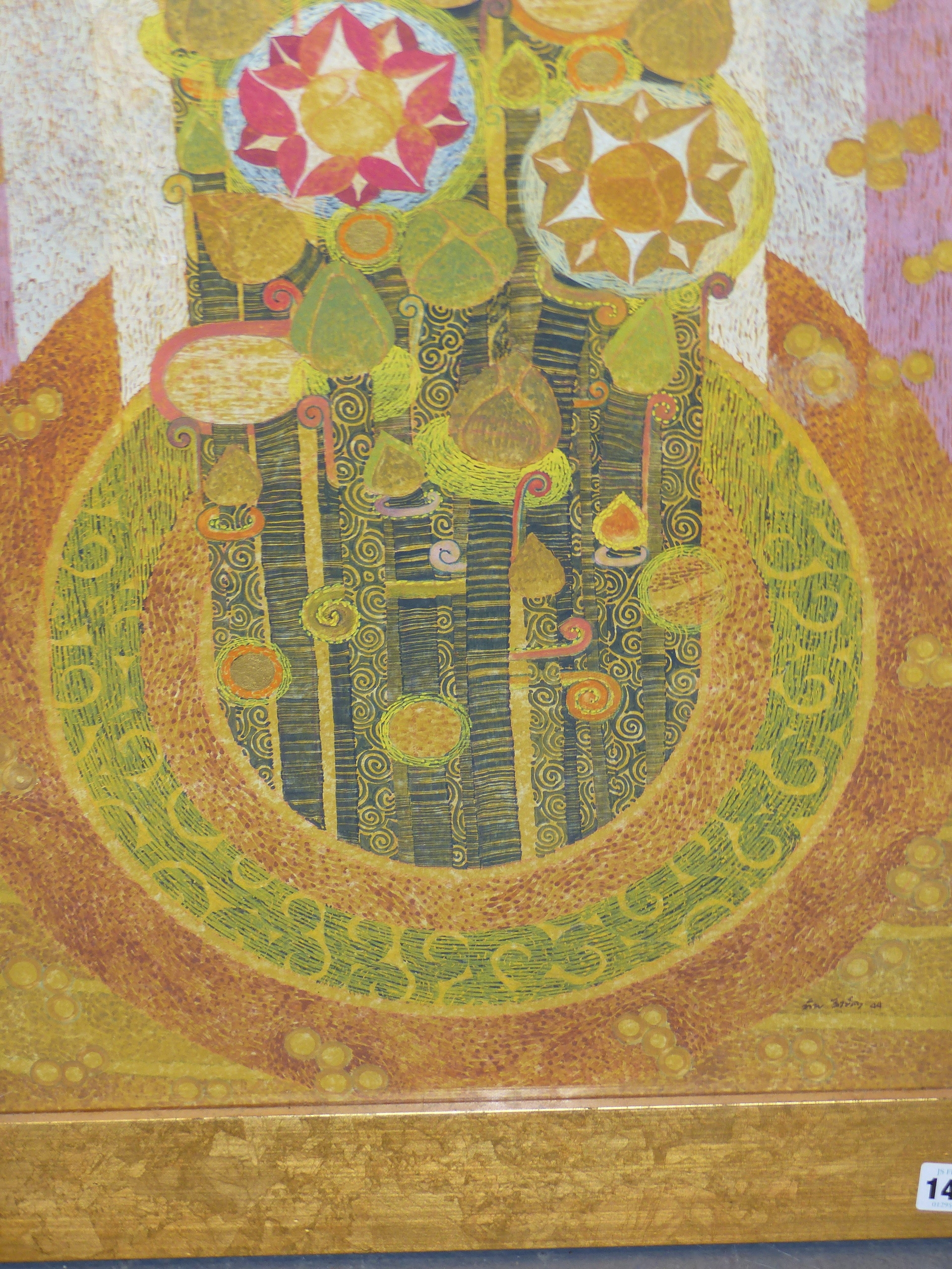 20th CENTURY EASTERN SCHOOL. A GEOMETRIC FLORAL ABSTRACTION WITH GILT HIGHLIGHTS AND WATERCOLOUR, - Image 4 of 8