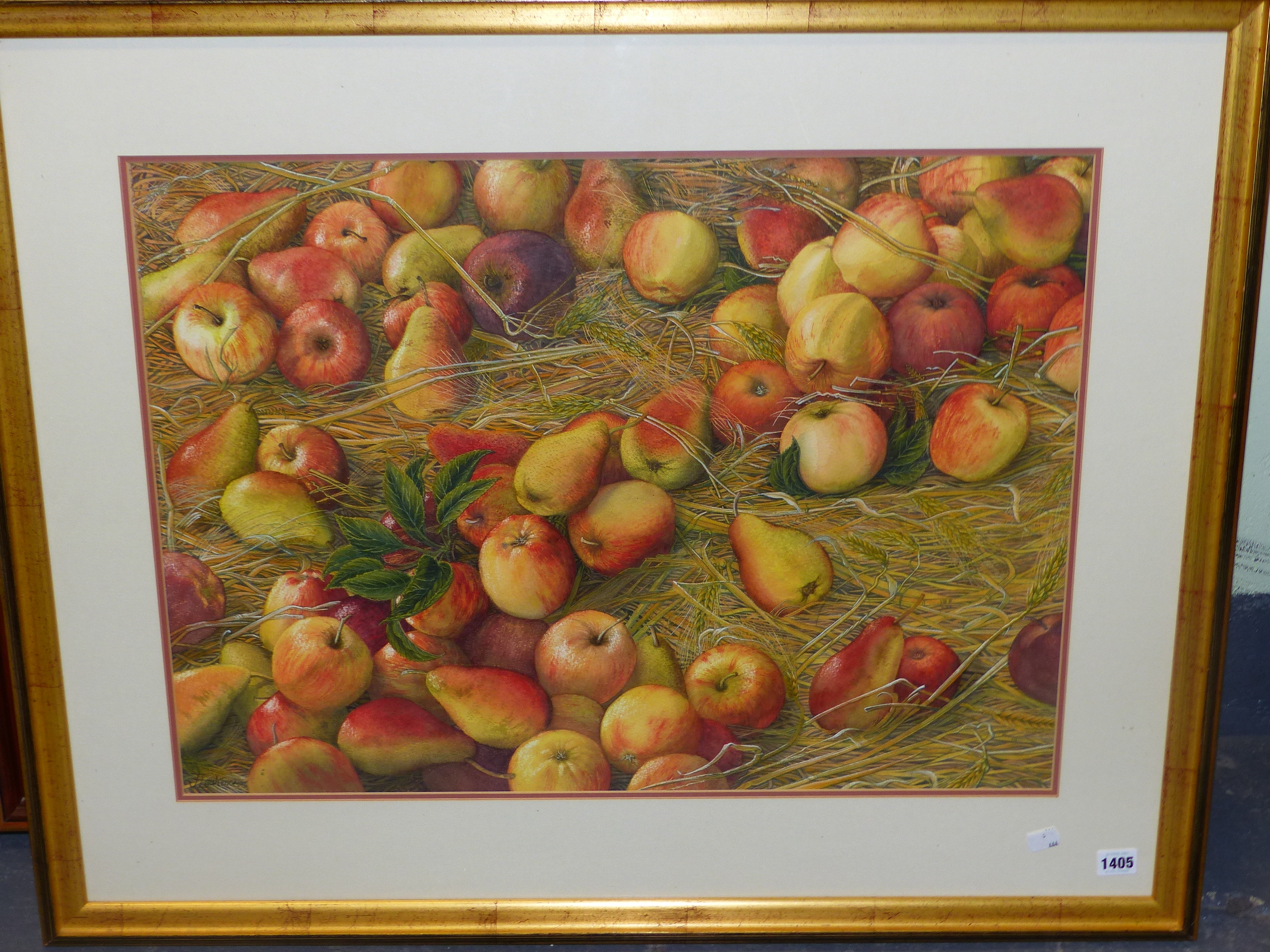 •JOAN LAWRENCE (20th CENTURY SCHOOL). ARR. GALA APPLES AND PACKHAM PEARS, SIGNED WATERCOLOUR, 50 x - Image 3 of 7