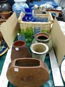 VARIOUS GLASS WARES AND ART POTTERY VASES.