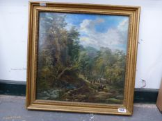 ENGLISH SCHOOL. TRAVELLERS IN A WOODED LANDSCAPE, OIL ON BOARD, 37 x 37cms.