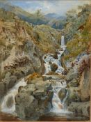 19th/20th C. ENGLISH SCHOOL. A HIGHLAND WATERFALL, SIGNED INDISTINCTLY, WATERCOLOUR 18 x 13cms