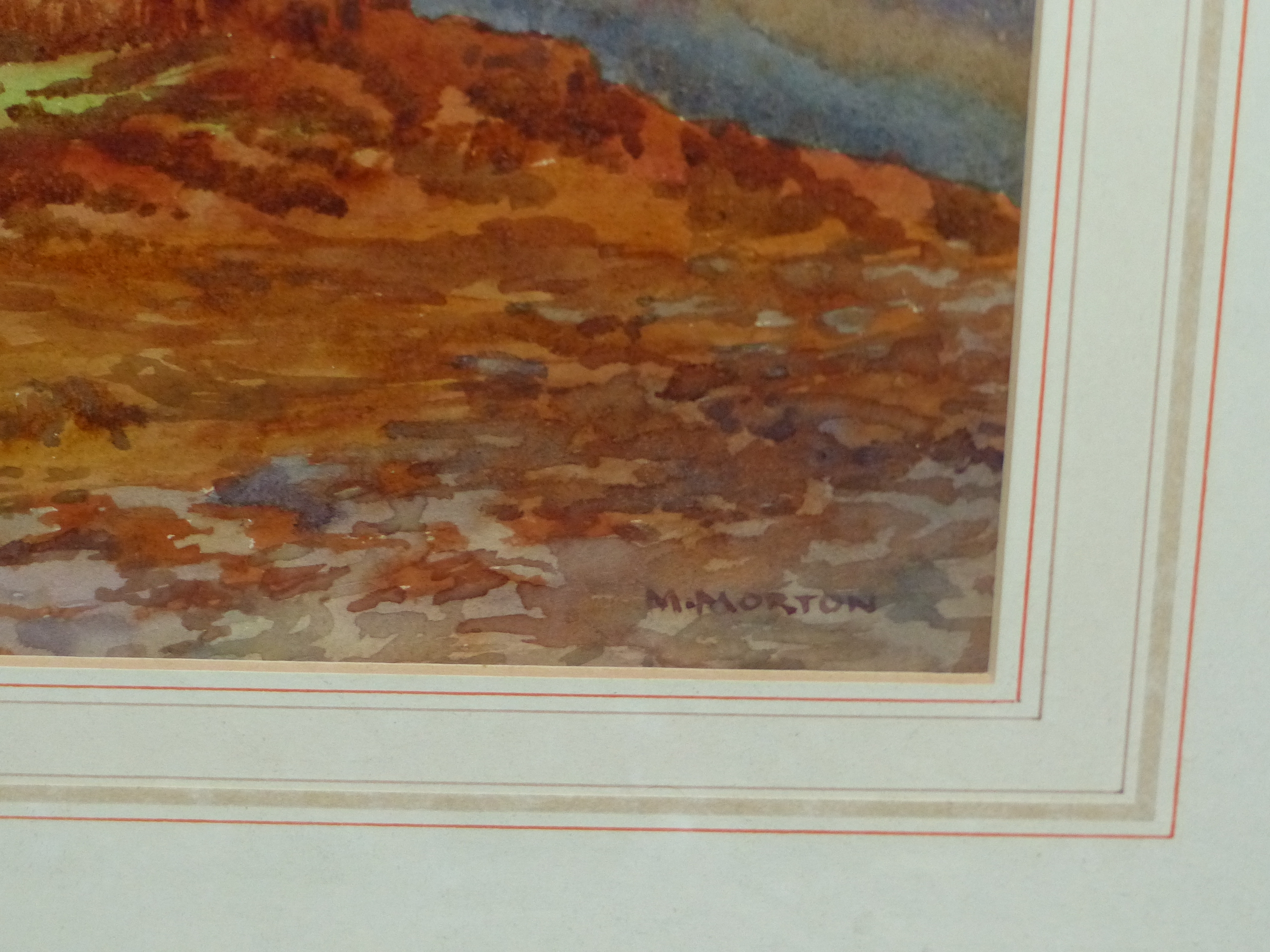 MARY MORTON (EARLY 20th C. ENGLISH SCHOOL) A HIGHLAND LAKE VIEW, SIGNED WATERCOLOUR. 24 x 35cms - Image 5 of 7