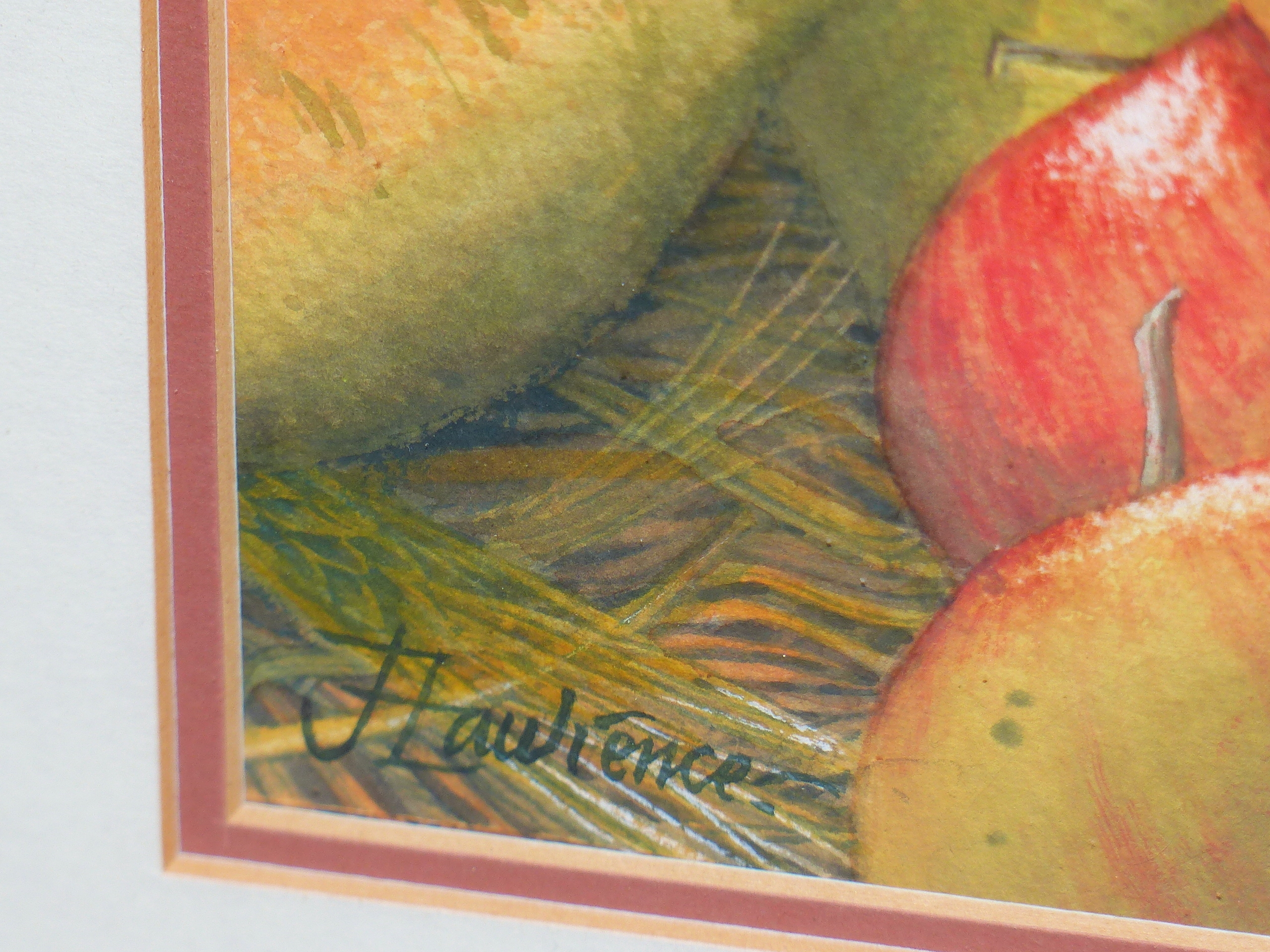 •JOAN LAWRENCE (20th CENTURY SCHOOL). ARR. GALA APPLES AND PACKHAM PEARS, SIGNED WATERCOLOUR, 50 x - Image 6 of 7