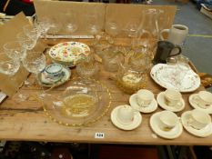 A RUSSELL HOBBS RETRO COFFEE CUPS AND SAUCERS, A GROUP OF 19th.C. GILT DECORATED GLASS WARES, TWO