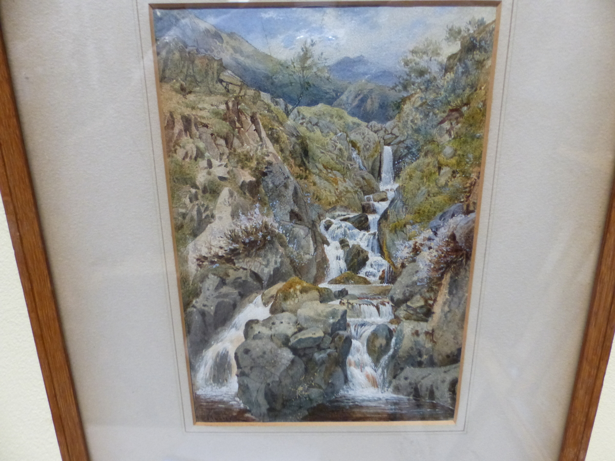 19th/20th C. ENGLISH SCHOOL. A HIGHLAND WATERFALL, SIGNED INDISTINCTLY, WATERCOLOUR 18 x 13cms - Image 9 of 9