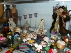 A QUANTITY OF VARIOUS CHINA AND ORNAMENTS, GLASS PAPERWEIGHTS, CORN DOLLYS ETC.