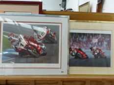 A PENCIL SIGNED COLOUR PRINT OF MOTORCYCLES, ENTITLED THE ONE AND ONLY, AFTER RAY GOLDSBOROUGH 45 x