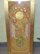20th CENTURY EASTERN SCHOOL. A GEOMETRIC FLORAL ABSTRACTION WITH GILT HIGHLIGHTS AND WATERCOLOUR,