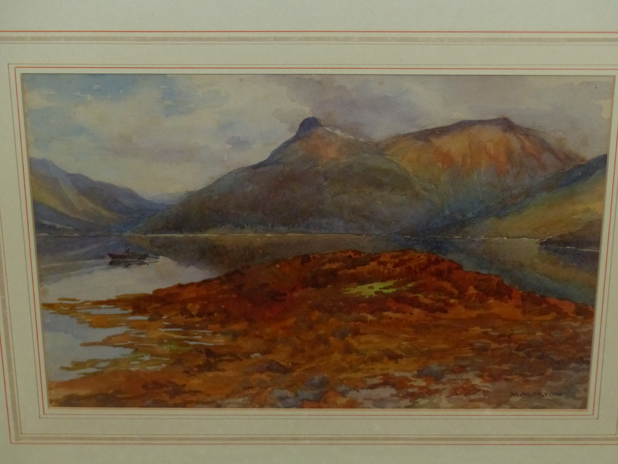 MARY MORTON (EARLY 20th C. ENGLISH SCHOOL) A HIGHLAND LAKE VIEW, SIGNED WATERCOLOUR. 24 x 35cms - Image 2 of 7