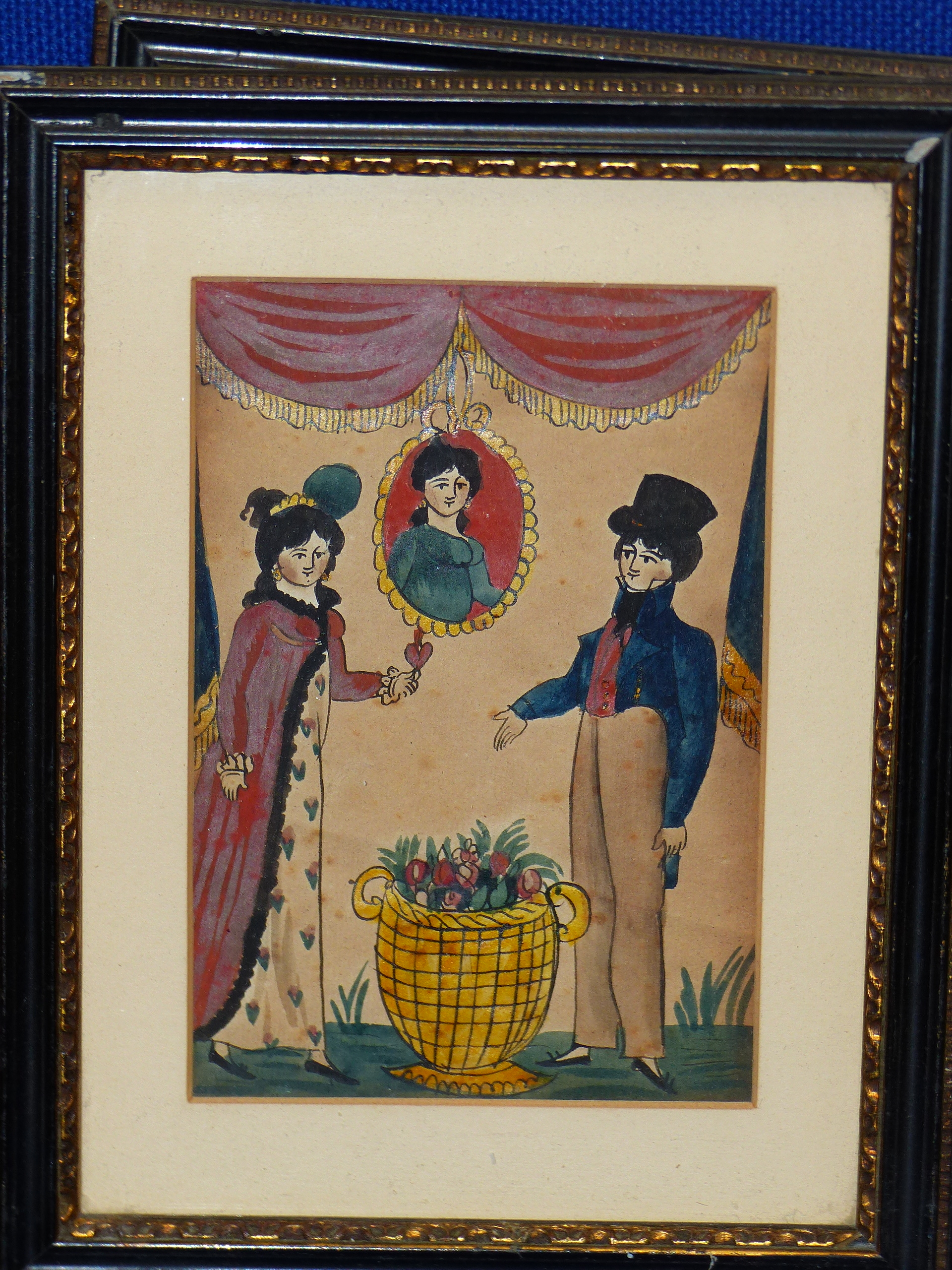 EARLY 19th C. NAIVE SCHOOL. A PAIR OF PORTRAITS OF COURTING COUPLES. WATERCOLOUR 17 x 12cm - Image 3 of 6