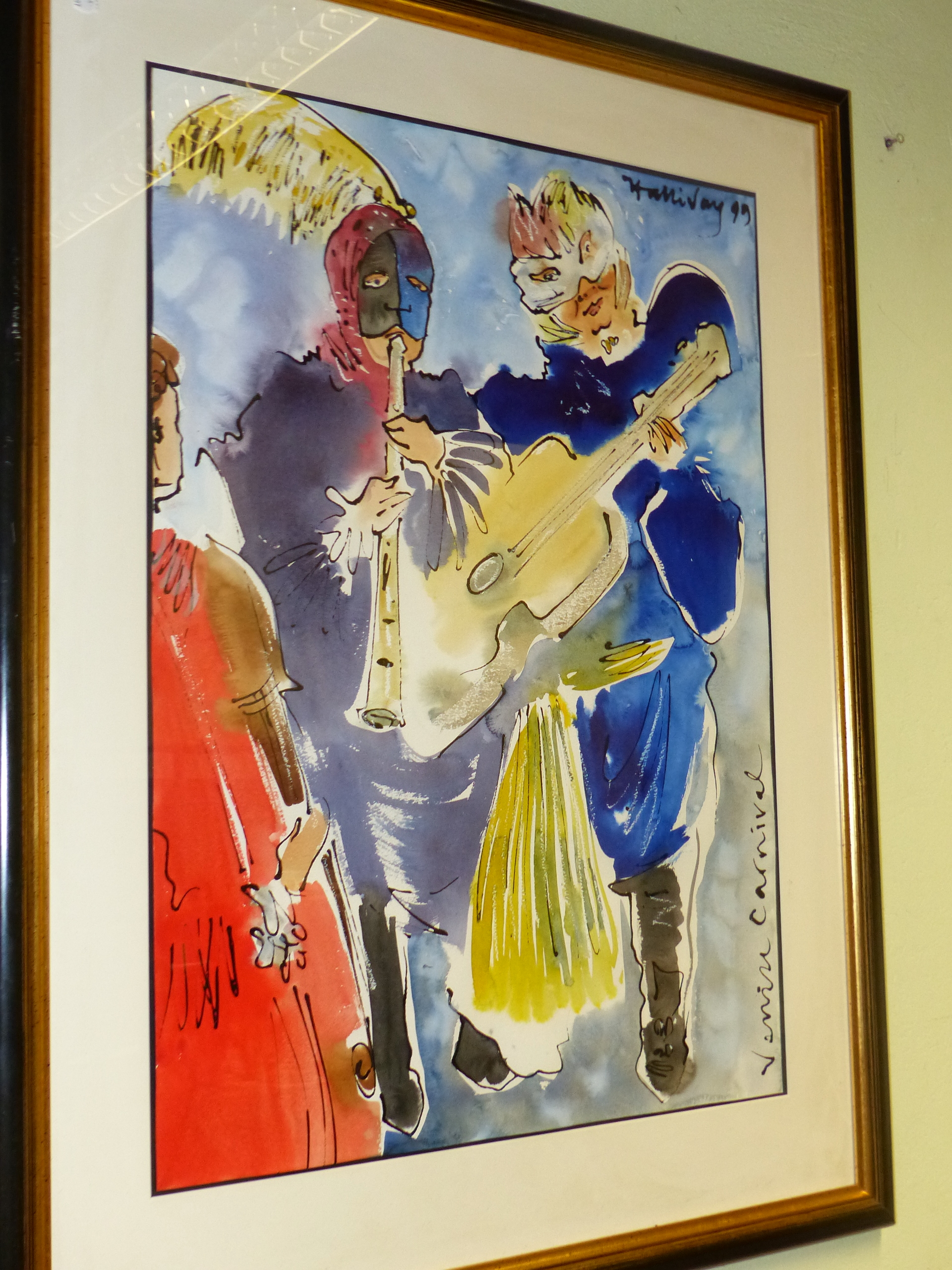 CONTEMPORARY SCHOOL. A PAIR OF COSTUME STUDIES OF FIGURES IN THE VENETIAN CARNIVAL, SIGNED - Image 2 of 5