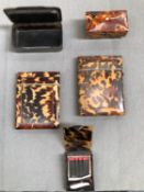 TWO 19th C. TORTOISESHELL CARD CASES, A SMALL TRINKET BOX, A MATCH BOOK HOLDER AND A HORN SNUFF BOX.