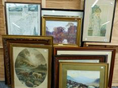 A COLLECTION OF VARIOUS VINTAGE AND LATER PRINTS, WATERCOLOURS AND FURNISHING PICTURES, SIZES VARY.