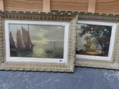 A DECORATIVE MARINE SCAPE OIL PAINTING SIGNED GILLET, TOGETHER WITH A LANDSCAPE BY ANOTHER HAND