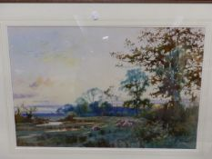WILLIAM MATHISON (1853 - 1926) SHEEP IN THE WATER MEADOW. SIGNED WATERCOLOUR 48 x 72cm