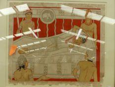 A VINTAGE COLOUR PRINT OF ANCIENT MAYAN FIGURES 43 x 50cm