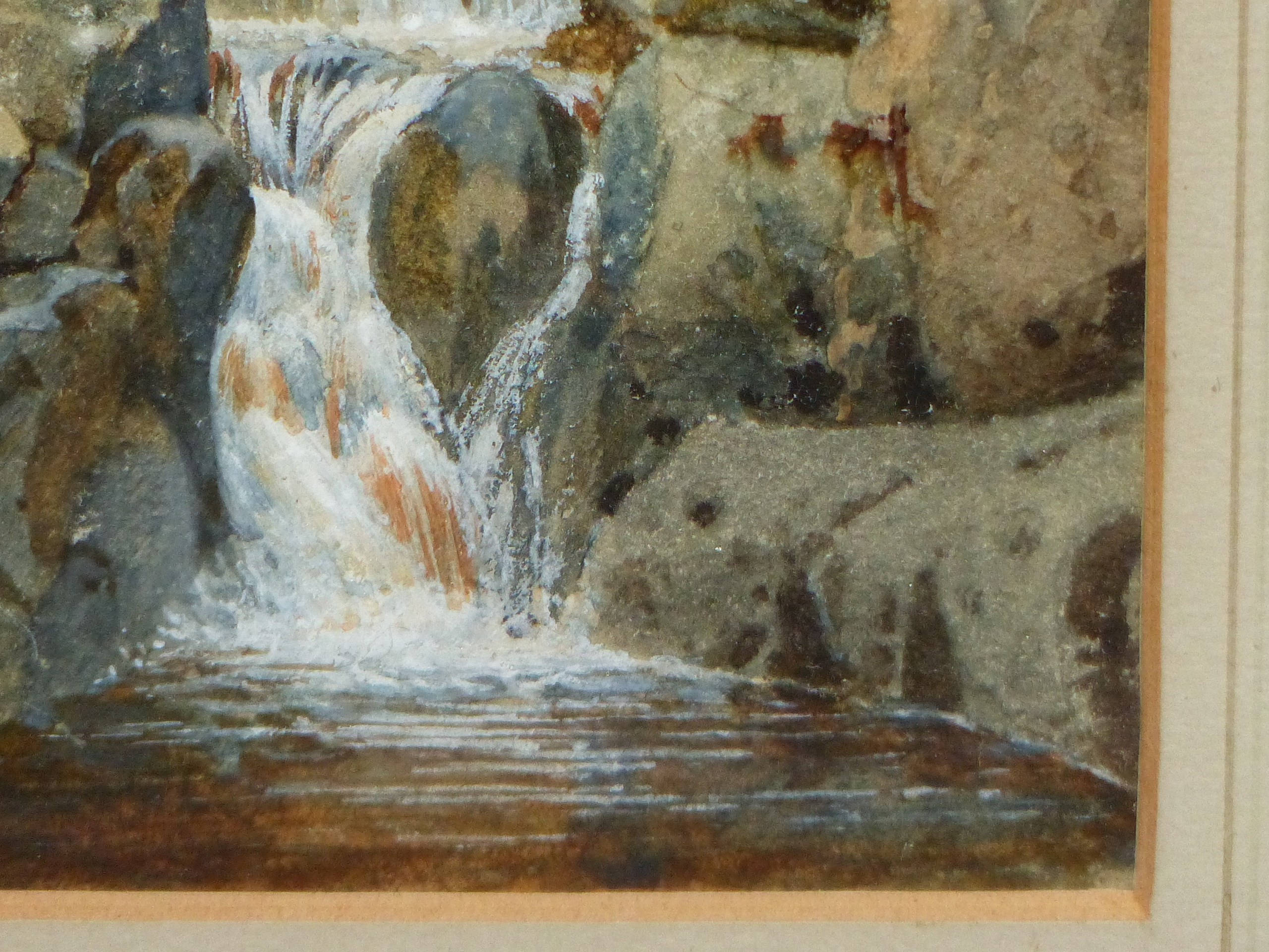 19th/20th C. ENGLISH SCHOOL. A HIGHLAND WATERFALL, SIGNED INDISTINCTLY, WATERCOLOUR 18 x 13cms - Image 4 of 9