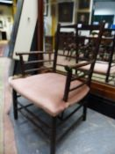 A WILLIAM MORRIS SUSSEX TYPE ARTS AND CRAFTS ELBOW CHAIR