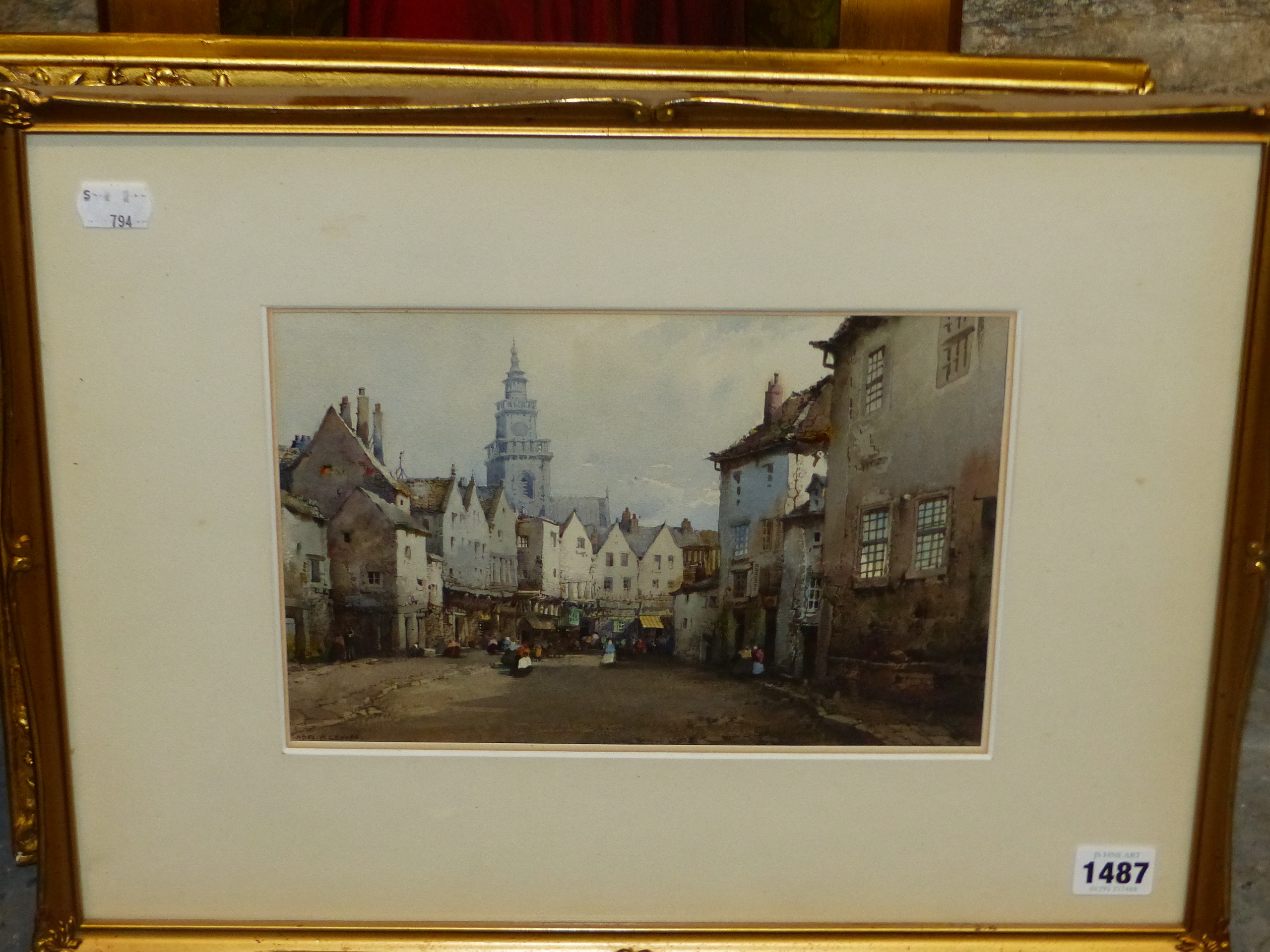 NOEL H LEAVER (1889-1951) THE TOWN MARKET, SIGNED WATERCOLOUR 18 x 26cm - Image 4 of 5