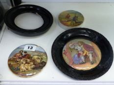 TWO ANTIQUE POT LIDS, UNCLE TOBY AND PEACE, AND ONE OTHER AND A FRAME.