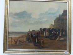 ENGLISH NAIVE SCHOOL BY THE SEASIDE, OIL ON CANVAS 52 x 62cms
